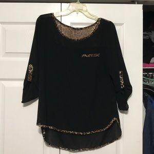Tops - Black & cheetah blouse
